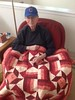 2016/09/19 Bill with new quilt from Pat and a CUBS ball cap from Murry
