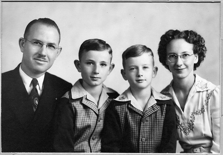 1945 - The family portrait:  Dad (James Maurice),Bill (William Redman), Murry (Murry Chalmer) and Mom (Elma Mae Staten Grigsby).  This photograph was made during the second World War when dad worked at the Remington Arms plant south of 6th Avenue in west Denver.