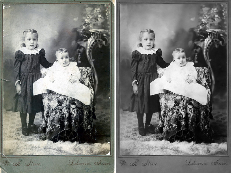 """1898 - These images represent the scan of the original photograph on the left and Murry's restoration on the right and illustrate what can be done to bring life back to old photographs with a little """"Photoshopping.""""  The original photograph was shared by Patricia Ruth Lane Partidge, grand daughter of Orpha Ruth Hester and great grand daughter of David and Sarah Alice Hester.  The girls in the photograph are David and Sarah Hester's daughters, Anna Alice, born September 6, 1893, and Orpha Ruth, born on November 1, 1897, a month after John A. P. Hester died on September 23, 1897.   The original image was made in 1898 (Ruth appears to be about 6 or 8 months old and needing the support of sister Anna) by W. H. Stone in Lebanon, Kansas after David and Sarah moved back to Lebanon, Kansas with their family because David's father, John A. P. Hester, had died.  This photo and the next image of Amanda and her daughter, Eva, grand daughters, Lida and Thelma and great grandson, Charles, show the same carpets present in both photographs by W. H. Stone."""