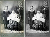 "1898 - These images represent the scan of the original photograph on the left and Murry's restoration on the right and illustrate what can be done to bring life back to old photographs with a little ""Photoshopping.""  The original photograph was shared by Patricia Ruth Lane Partidge, grand daughter of Orpha Ruth Hester and great grand daughter of David and Sarah Alice Hester.  The girls in the photograph are David and Sarah Hester's daughters, Anna Alice, born September 6, 1893, and Orpha Ruth, born on November 1, 1897, a month after John A. P. Hester died on September 23, 1897.   The original image was made in 1898 (Ruth appears to be about 6 or 8 months old and needing the support of sister Anna) by W. H. Stone in Lebanon, Kansas after David and Sarah moved back to Lebanon, Kansas with their family because David's father, John A. P. Hester, had died.  This photo and the next image of Amanda and her daughter, Eva, grand daughters, Lida and Thelma and great grandson, Charles, show the same carpets present in both photographs by W. H. Stone."