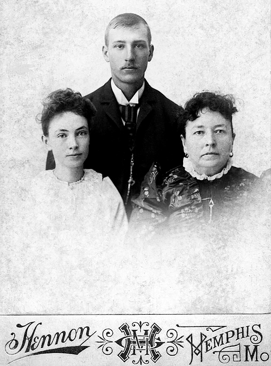 1890 - George Bechtel, AmyTroth and Amy's older sister:  George Benton McClelland Bechtel (1873-1947).  The young woman is Amy Irene Troth, George's first wife (the woman we called Grandma Bechtel was George's second wife).  Amy was born 1871 and died 1904.  Amy gave birth to Verna Mae Bechtel in 1893 somewhere in Missouri.  The Bechtels lived close to the Statens around Killwinning, Missouri until George moved to Kansas and Verna Mae and Chalmer Staten followed in about December 1924 -- Mom would have been about 12.