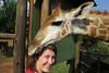 2013/02 Family Jodi wears a giraffe hat in South Africa