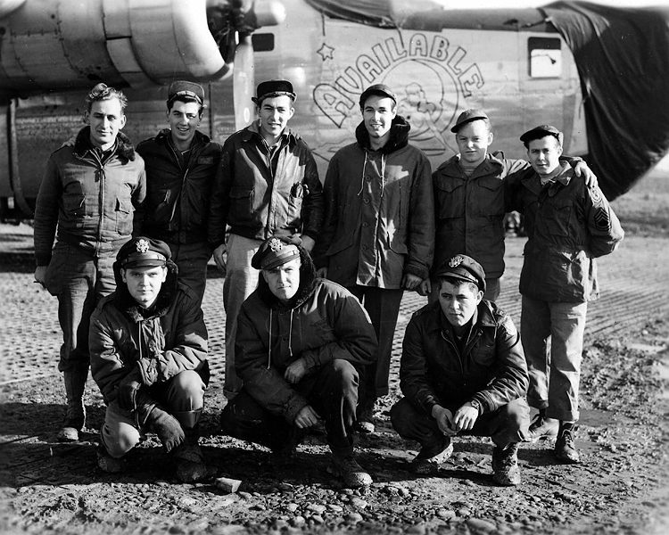 1943 - The crew of the B24 Available:  Bruce L. Graves Jr. (back row third from right) Tech/Sgt and the radioman in the crew of this B24 airplane, Available.  This photograph was probably taken somewhere in North Africa.  Bruce was lost in action somewhere in Italy during 1944.  So WWI got Bruce Sr. and WWII got Bruce Jr.  Bill thinks this is why aunt Helen liked rowdy little boys (Bill and Murry) creating havoc in her home when we would visit her in Mansfield, Ohio. :0)