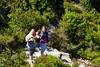 2013/02 Family Sarah and Jodi trek through the woods on Table Top Mountain in Cape Town, South Africa