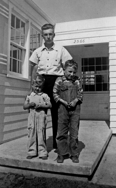 """1941 - Chalmer Murry Staten Jr, Murry and Bill.  """"Junior"""" was mom's younger brother and he visited us at 2566 South Washington Street when we moved into our new  house in 1941.  Bill moved into the second semester of first grade in 1941 at Rosedale Elementary School from this house.  Junior would eventually join the Navy after the war started in December 1941 -- he wasn't 18 until June 16, 1943.  Bill can remember waiting at the Denver Union Station train depot in downtown Denver to meet Junior who arrived in his sailor's uniform on his way to California."""