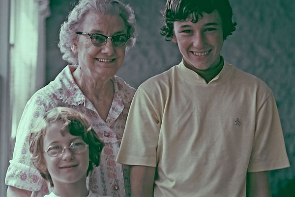 """1973 - Grandma Staten, Jodi and James:  Taken in Verna's apartment over the """"Knock On Wood"""" company in Bloomfield, Iowa.  We were on our way home after visting Bill's family in Coralville, Iowa.  Verna was our mom's mom."""