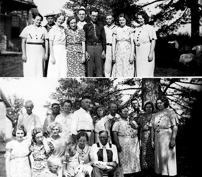 1936 - This is a composite image of two photographs that were provided by Kathleen Staten and taken on the same day (the clothes support that) at aunt Mae's (Alma Mae Staten Reese) home south of Pulaski, Iowa and were probably made in about 1936 because Bill is present but Murry wasn't.  The people in the top image are from left to right Pauline (Reese Prevo whom Bill remembers meeting when he lived in Iowa), Joe Prevo, Elma Mae Staten Grigsby, Kathleen Staten, our dad, James M. Grigsby, Chalmer (Red) Weininger with the cigarette, (aunt Josephine Staten Weininger Laws' son), Davie Brewer (son of Tilda Belle Staten Brewer Laws and Clarence Brewer), Doris Brewer Shoemaker (also a daughter of aunt Tildie) and Lurena Brewer Ritz (also a daughter of aunt Tildie).  Bill loves dad and Joe Prevo's hats!<br /> In the bottom image the people from left to right are in the back row Robert Edward Staten, uncle Henry Reese, aunt Mae Staten Reese, uncle Ray, Davie Brewer, aunt Frankie Staten Bennett, unknown, aunt Billie (that's what we called her but her name was Belinda), Jimmy Laws (Tildie's husband), aunt Tildie and Lurena Brewer Ritz.  In the front from left to right are Doris Brewer Shoemaker, Kathleen Staten, Vern Martin (grandson of aunt Tildie), Aunt Tildie, Bill Grigsby at about 2 years old, Elma Mae Staten and uncle Frank Bennett (Bill loves his tie and shirt with the bib overalls -- needed attire for the Staten's formal gatherings).