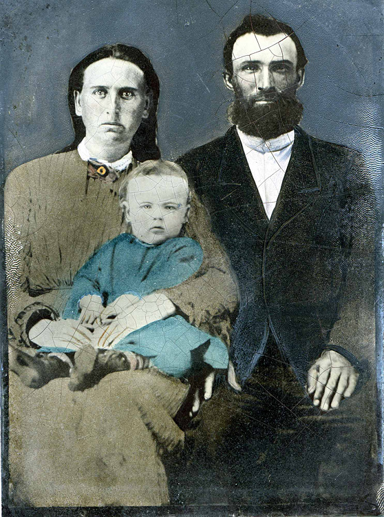 1872 - James, Margaret Ellen Wilson and William Redman Grigsby:  This 1872 tintype was taken near Leon, Iowa.  James was our great grandfather and William (about one year old) was our grandfather.  Ellen and James were married in 1866 near Agency, Iowa.  Their first two children died as infants (the second, Charles W. died on April 1, 1871 and was buried in the Terra Haute Iowa Cemetery just months before William Redman was born).