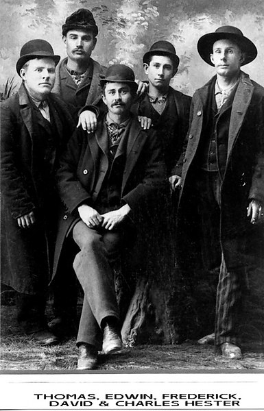 1894 - This photo shows the other 5 younger brothers of Eva Hester Graves. — Thomas (born abt. 1868), Edwin (born abt. 1861), Frederick (born abt. 1873), David (born abt. 1859) and Charles (born abt. 1870).  The photo was provided by Connie Hester (our 3rd cousin) who is the great grand-daughter of John Maxwell Hester, Eva's other brother.