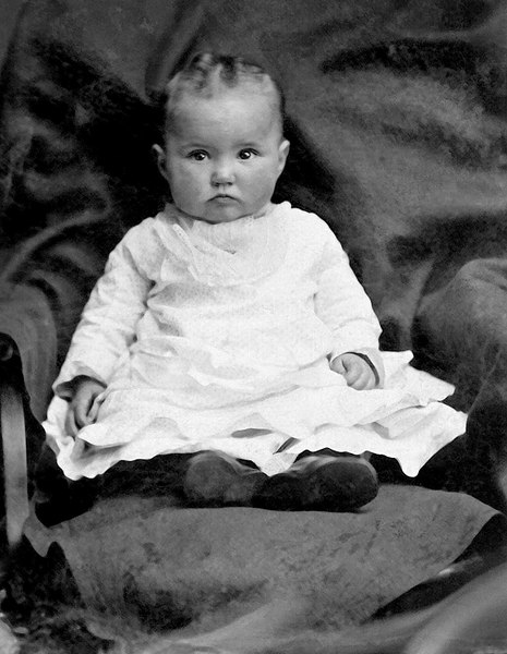 1879 - This is the tintype of our Grandmother, Lida Alma Graves Grigsby, at about 1 year old in 1879 (as labeled by Dad).
