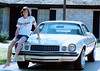 1976 - High-schooler James with his Flare Camero and CU t-shirt at the River Plantation house.  Flare was the name of the Conroe High School year book and James was active on the staff and as a photographer.