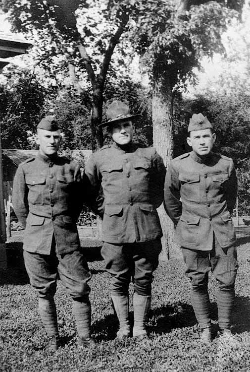 1918 - Graves Brothers WWI:  Grandmother's (Lida Alma Graves Grigsby) brothers from left to right:  Fred, Bruce and Ezra.  Uncle Fred (1890 - 1954) lived in Denver and had kids who played with us including Betty Ann, Jimmy and Seldon.  Bruce was aunt Helen's husband and he died early in life (1894 - 1937).  Uncle Ez (1886 - 1922) may have been the brother that Dad told stories about him climbing a haystack without any clothes during a lightening storm and shouting at God to come down and fight like a man  (Ezra's brother, Charles, was killed by a lightening strike around Rantoul, Kansas -- about 20 miles north east of Williamsburg).  The photo was taken before they shipped out to fight in France.  Ez and Bruce were gassed by the Germans in France duirng the war and that may explain Ez's mental problems and Bruce's early death?
