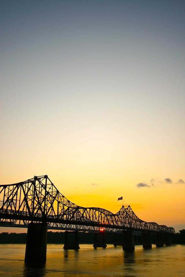 Mississippi River Bridges at Vicksburg A beautiful delta sunrise or sunset!