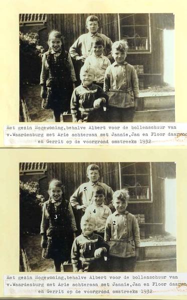F1479<br /> Het gezin Hogewoning, behalve Albert, staat voor de bollenschuur van Van Waardenburg. Deze stond tussen de Boschlaan en de Kerklaan in.  Foto ca. 1932.<br /> <br /> 01 Gerrit Hogewoning<br /> 02 Jan Hogewoning<br /> 03 Jannie Hogewoning<br /> 04 Floor Hogewoning<br /> 05 Arie Hogewoning