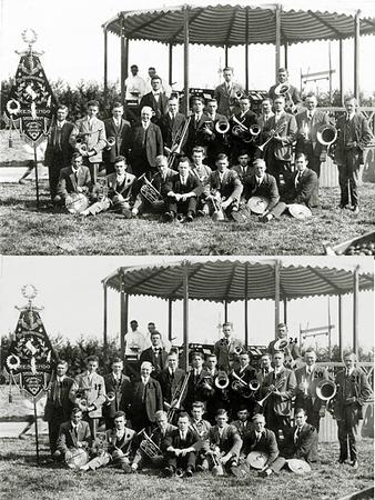 F1557     <br /> Het Chr. Fanfarekorps Crescendo tijdens het Oranjefeest 1928, eind augustus. De locatie is het gemeentelijk speel- en sportterrein Sporthoff, waar nu de Sporthoflaan is en de speeltuin DVV.<br /> Bijzonderheden: <br /> De muziektent werd jaarlijks opgebouwd (Het is dus niet dezelfde als die op het eilandje aan de Charbonlaan (in de Overplaats) stond.) <br /> Er was twee dagen feest. Crescendo speelde altijd op de eerste dag. Op de tweede dag speelde altijd de Tramharmonie.<br /> <br /> <br /> 1Cees van der Zwart<br /> 2Rinus Moolenaar<br /> 3Klaas Bloemendaal<br /> 4Bert Jägel sr.<br /> 5Jan Vos<br /> 6Teun van Leeuwen sr.<br /> 7Jan Moolenaar Pzn<br /> 8Arie van der Voet<br /> 9Arie Dwarswaard<br /> 10Gerrit Philippo<br /> 11Gideon Heemskerk<br /> 12Toon van Nieuwkoop<br /> 13J.W. Smolders (dirigent)<br /> 14Cees van der Heiden (voorzitter)<br /> 15Rikus Hogewoning<br /> 16Ab Helmus<br /> 17Arie Oudshoorn<br /> 18Siep de Vries<br /> 19Jan Ducroix<br /> 20Gerrit Heemskerk<br /> 21Gijs Overvliet sr.<br /> 22Toon van Helden<br /> 23Gerrit Vos<br /> 24Peet Staring