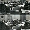 F1427 <br /> De raadszaal van het gemeentehuis aan de Wilhelminalaan in 1964 tijdens de begrotingsbehandeling 1965<br /> <br /> 01  Gerrit Verschoor<br /> 02  J. van der Nouland<br /> 03<br /> 04<br /> 05  P. Westerbeek<br /> 06<br /> 07  P. Kruik<br /> 08<br /> 09<br /> 10  dhr. De Nennie<br /> 11<br /> 12<br /> 13<br /> 14<br /> 15  A. Vogelaar<br /> 16  P. Stolwijk<br /> 17