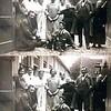 F0205<br /> Foto uit ca. 1930 van de bewoners van de diaconiehuisjes voor aan de Kerklaan. Aan de achterzijde lagen gele klinkertjes met een goot in het midden voor afvoer van regen- en schrobwater. Rechts de groen geverfde schuren. De achterdeuren van de huisjes hadden een klinkafsluiting. De huizen waren in tweeën gedeeld: vóór woonde het ene gezin aan de straatzijde en het andere gezin woonde aan de achterzijde.<br /> <br />  01<br /> 02 De Boer<br /> 03<br /> 04 Bets van der Schrier<br /> 05 Mevr. van der Voet<br /> 06 Mevr. van der Schrier<br /> 07 Riek Molenaar<br /> 08 Mevr. Geerling<br /> 09 Casper Verlint<br /> 10 Mevr. van der Heiden