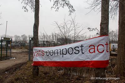 nederland 2013, groningen, friesestraatweg,volkstuincomplexcompost actie gemeente groningen
