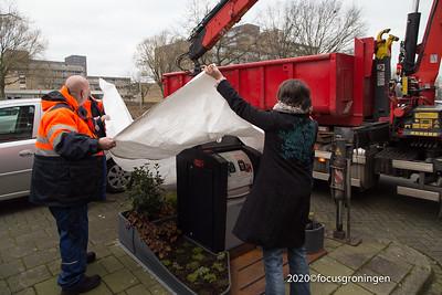 nederland 2020, groningen, goudlaan, eerste containertuin groningen