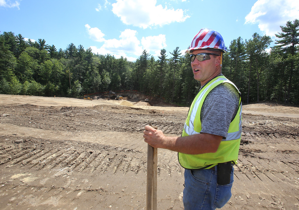 . Groundbreaking ceremony for the Four Corners MassWorks Infrastructure Project, at the intersection of Rt 119 and Rt 225 in Groton. Jeff Sullivan of Townsend, project superintendent for Powell Stone & Gravel (based in Lunenberg). (SUN/Julia Malakie)