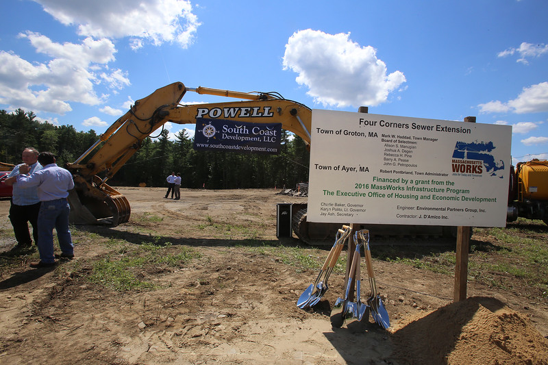 Groundbreaking ceremony for the Four Corners MassWorks Infrastructure Project, at the intersection of Rt 119 and Rt 225 in Groton. (SUN/Julia Malakie)