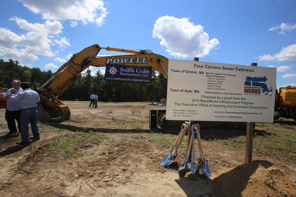 . Groundbreaking ceremony for the Four Corners MassWorks Infrastructure Project, at the intersection of Rt 119 and Rt 225 in Groton. (SUN/Julia Malakie)