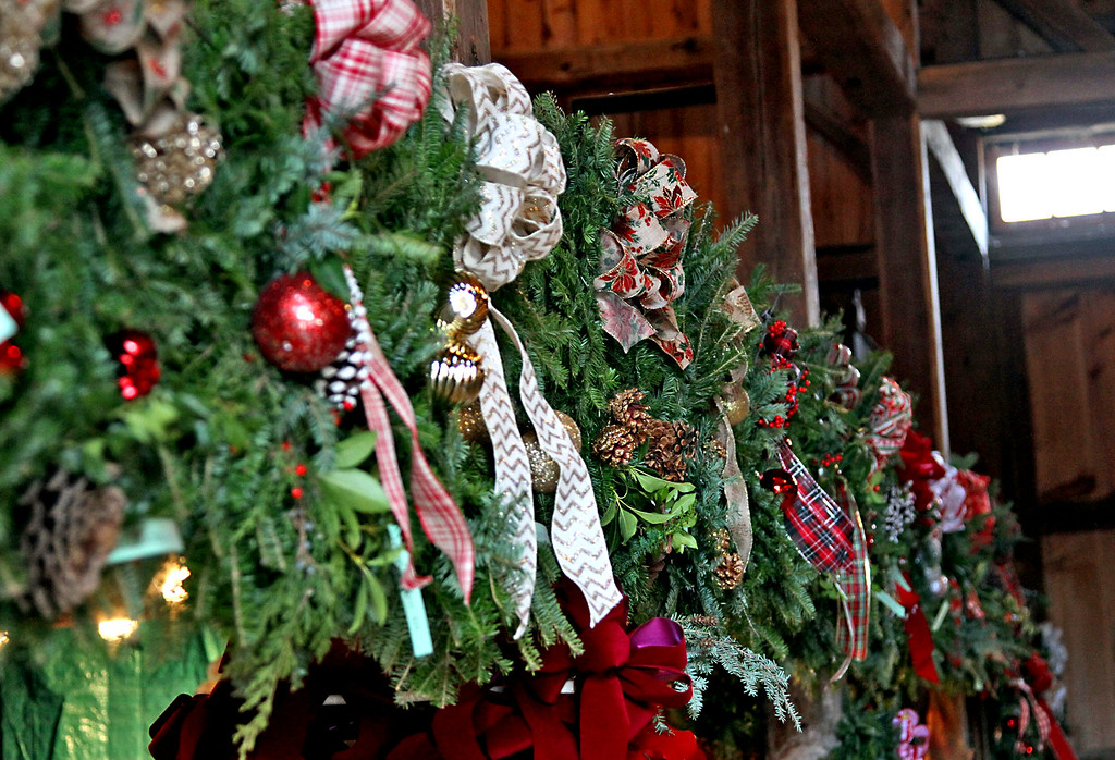 . Holiday wreaths lined up after being made by the Groton Womens Club for their annual Greens Sale to be held Dec 2nd at Williams Barn in Groton. Nashoba Valley Voice /David H. Brow