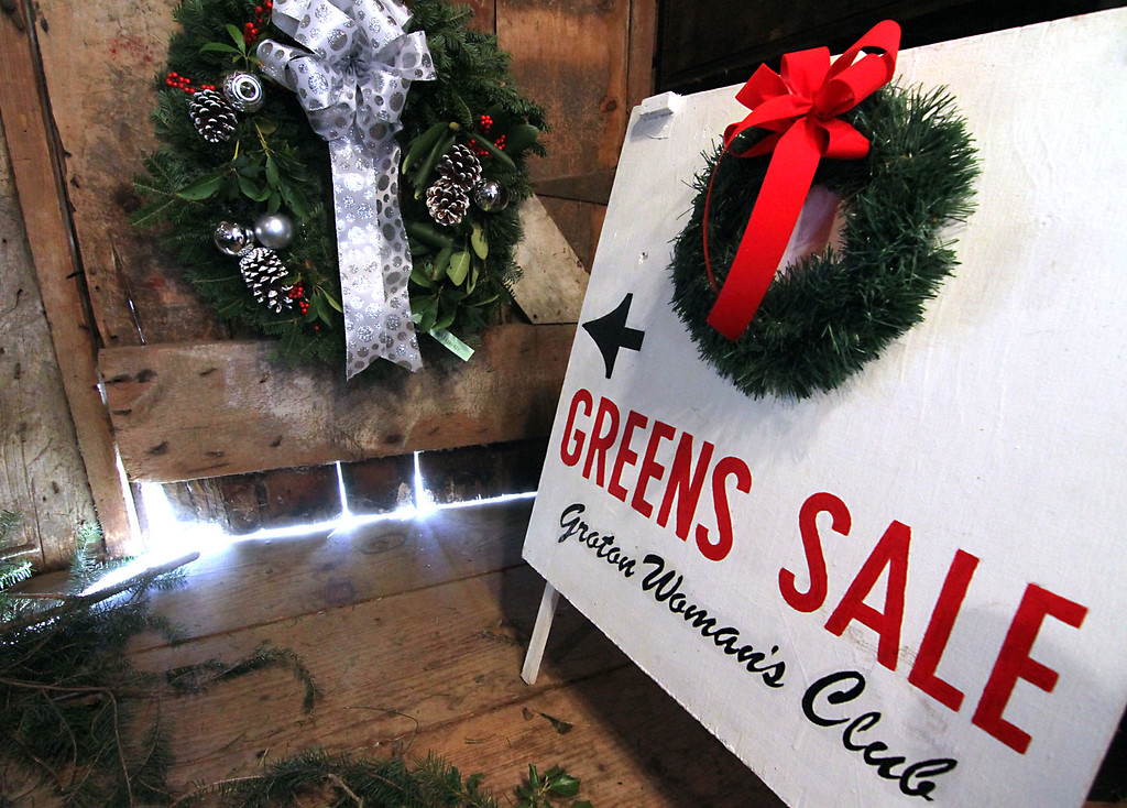 . Sign showing the up coming Greens Sale put on by the Groton Womens Club to be held at the Williams Barn on Dec.2nd. Nashoba Valley Voice /David H. Brow
