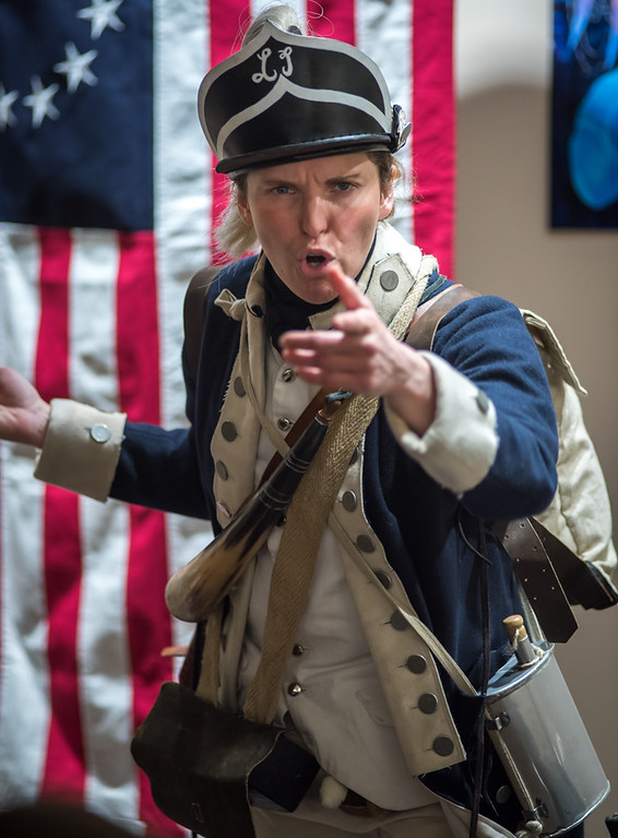 . Judith Kalaora from History At Play interpretive programs in her role as Deborah Sampson, the first women to enlist in the army in the Revolutionary War, disquised as a man.  Photo:  Scot Langdon / SUN