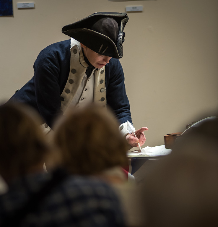 . Judith Kalaora from History At Play interpretive programs in her role as Deborah Sampson, the first women to enlist in the army in the Revolutionary War, disguised as a man.  Photo:  Scot Langdon / SUN