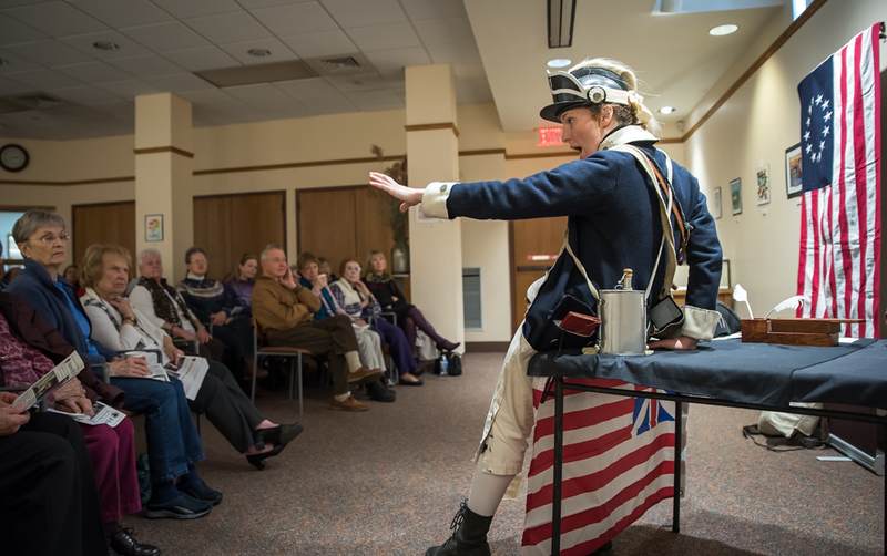 . Judith Kalaora, a professional actress from  History At Play interpretive programs, performs at the Groton Library Sunday in her role as Deborah Sampson, the first women to enlist in the army in the Revolutionary War, disguised as a man.  Photo:  Scot Langdon / SUN