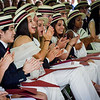 Groton School graduates cheer and clap for their classmates as they receive their diploma. SUN/Caley McGuane