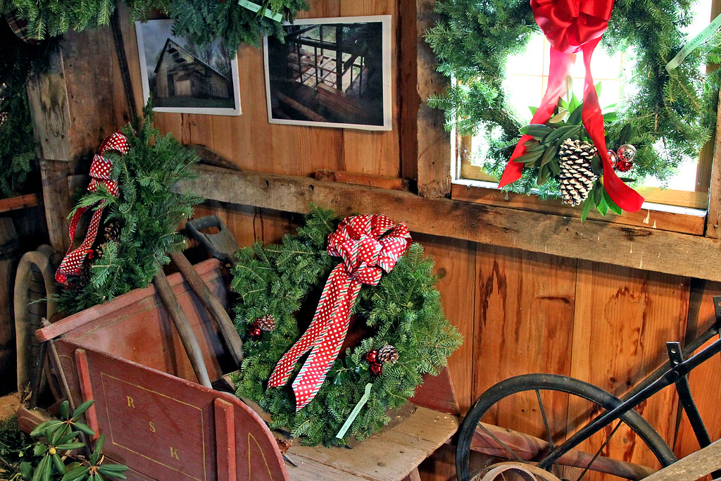 . Display of holiday items at Williams Barn in Groton for the annual Greens Sale for the Groton Womens Club. Nashoba Valley Voice/ David H. Brow
