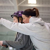 Hudson's Morgan Ghize, 15 (left), receives instructions from iCan Shine director of operations Andrea Patrick during a week-long camp on April 20, 2016 designed to help students with special learn how to ride a bicycle. Chris Lisinski/Nashoba Valley Voice