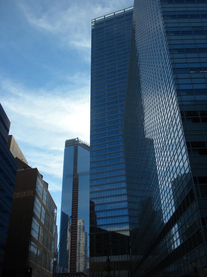 Tom and Betty visit Ground Zero, 911 Memorial in New York City.  These are the present building surrounding Ground Zero.