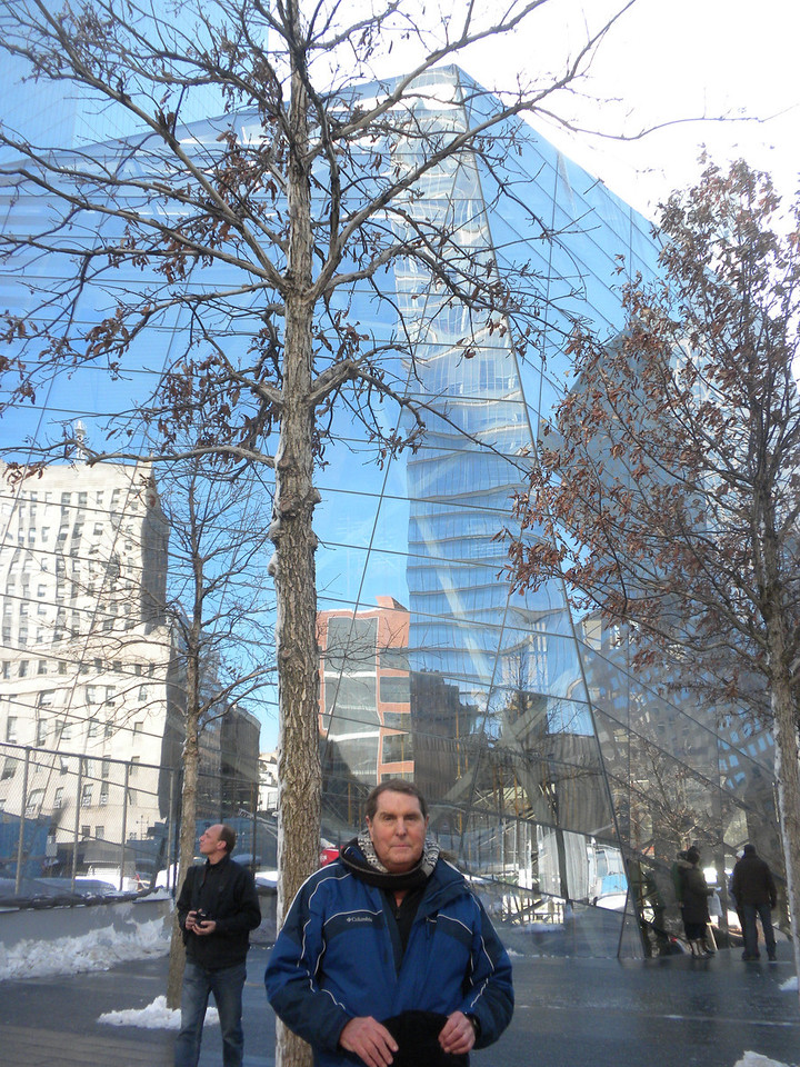 Tom and Betty visit Ground Zero, 911 Memorial.  Tom is looking at the 911 Memorial