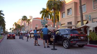 Motion stock footage upscale restaurants valet Mizner Park Boca Raton FL 4k
