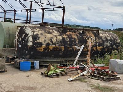 Grounded Tank Barrel ex Propane or Butane 59xxx at Stonebury Farm off B1368 near Dassels, Buntingford, Herts   09/08/21