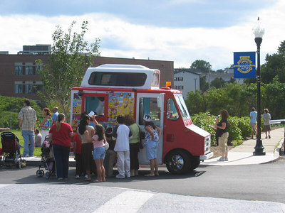 the ice cream van change the landscape atmosphere. kenneth