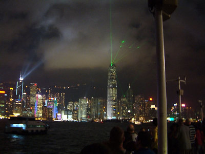 Hong Kong's Harbour night view... each night the skyscrapers with light up in different colors, and project laser light out. Turn themselves to a laser light show. kenneth