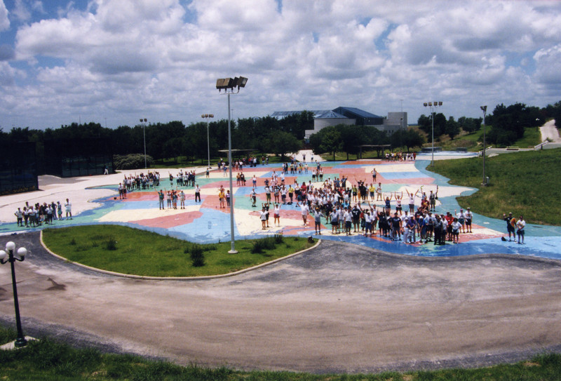 Coaster Con XXII, held June 20–23, 1999, at Fiesta Texas and SeaWorld San Antonio.<br /> Photo by S. Madonna Horcher, taken at SeaWorld with attendees standing on their home state on USA map.
