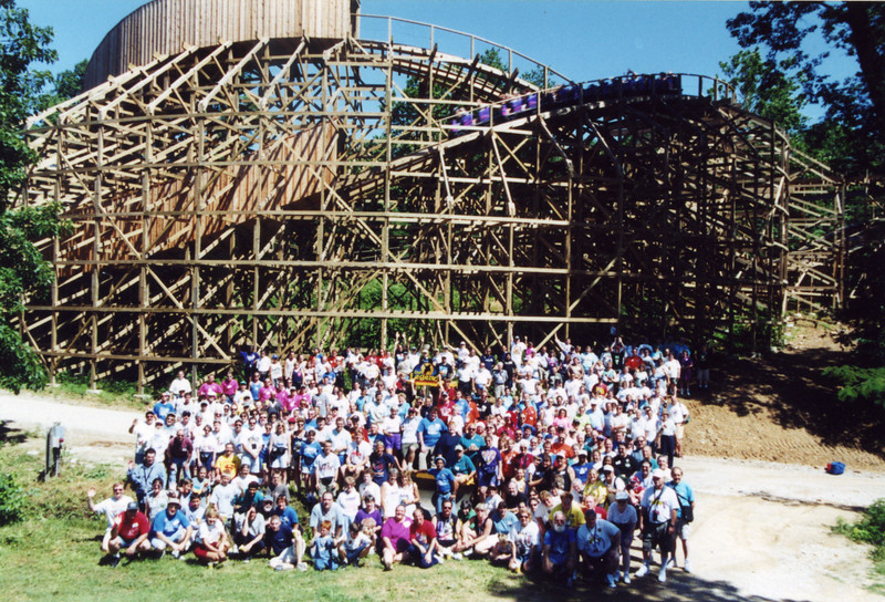 Coaster Con XXIII, held June 18–23, 2000, at Six Flags Kentucky Kingdom and Holiday World.<br /> Photo taken at Holiday World by S. Madonna Horcher.