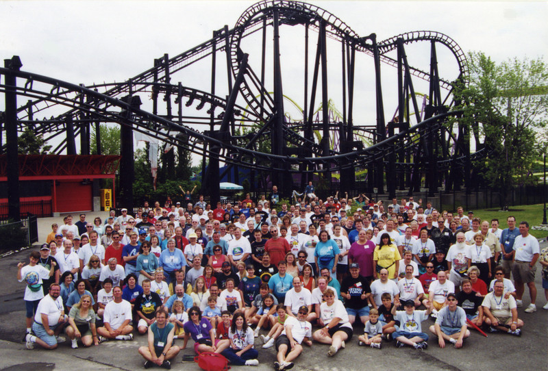 Coaster Con XXIII, held June 18–23, 2000, at Six Flags Kentucky Kingdom and Holiday World.<br /> Photo taken at Six Flags Kentucky Kingdom by S. Madonna Horcher.