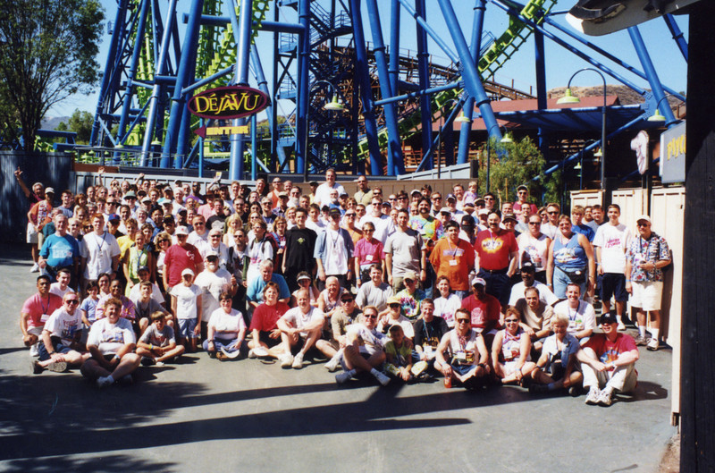 Coaster Con XXV, held June 16–21, 2002, at Six Flags Magic Mountain, Knott's Berry Farm and Adventure City.<br /> Photo by S. Madonna Horcher, taken at Six Flags Magic Mountain.