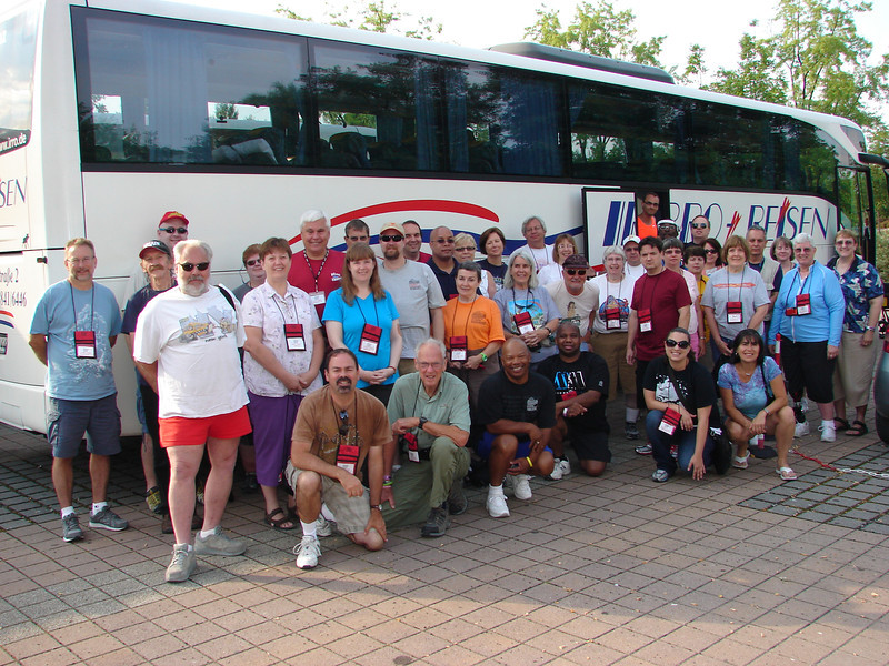 """ACE Central Europe, week one, held July 19 to July 26. <br /> Photo of Bus #2 """"Achterbahn"""" taken by Tim Baldwin, July 24, at Erlebnispark Tripsdrill."""
