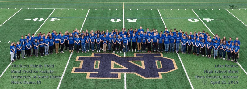 Lake Fenton High School Band, on the new Band Practice Field for University of Notre Dame Marching Band.