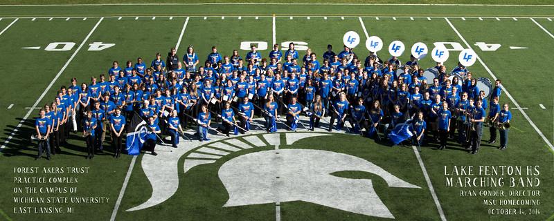Lake Fenton High School Band MSU Practice Field Group Photo