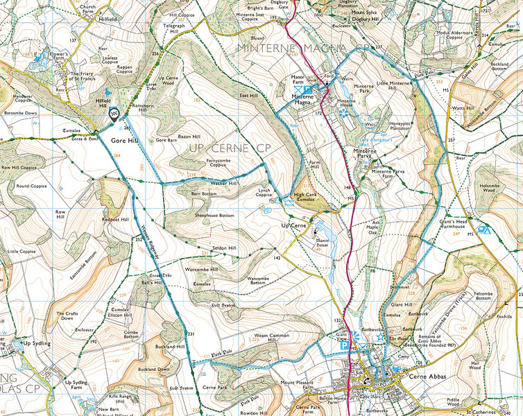 The route we walked is in blue and we went anticlockwise