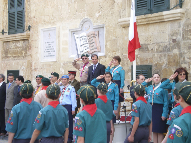 Sliema group passing by the President George Abela (his first Annual Parade as President)