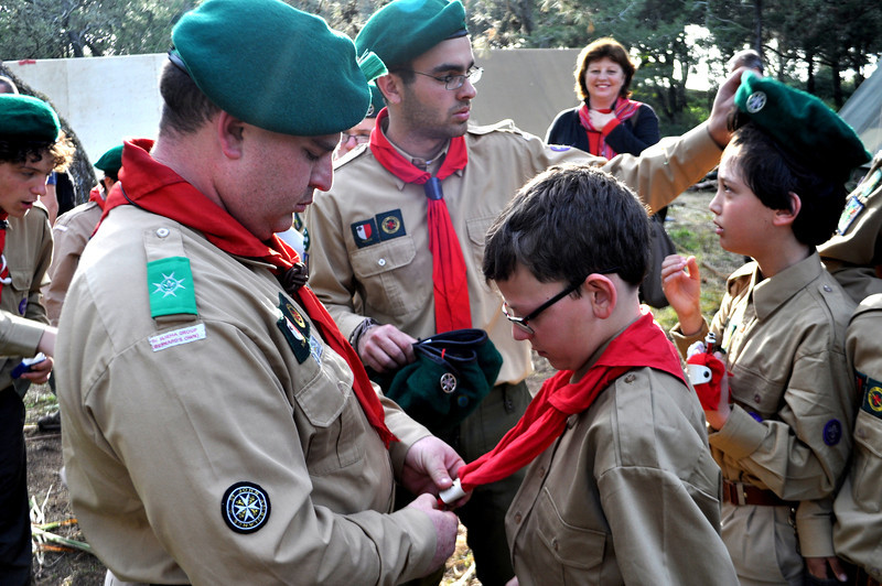 AGSL Mark helps Michele prepare to renew his Scout Promise